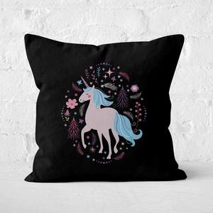Pink Unicorn Square Cushion
