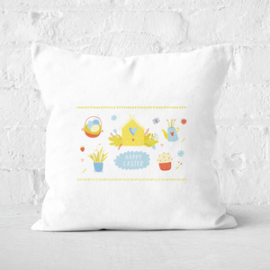 Pressed Flowers Happy Easter Bird House Square Cushion