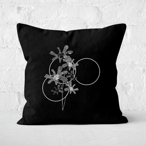 Pressed Flowers Monochrome Tone Flowers and Circles Square Cushion