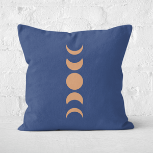 Pressed Flowers Abstract Moon Phase Square Cushion
