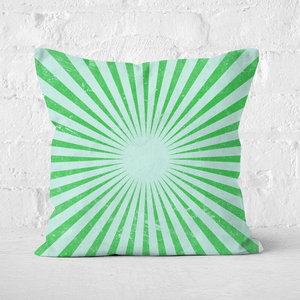 Pressed Flowers Circus Beams Green Square Cushion
