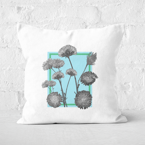 Pressed Flowers Cool Tones Framed Sketched Flowers Square Cushion
