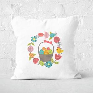 Pressed Flowers Easter Egg Basket Square Cushion