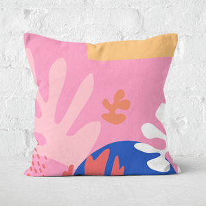 Pressed Flowers Colourful Abstract Square Cushion
