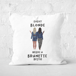 Pressed Flowers Every Blonde Needs A Brunette Bestie Square Cushion