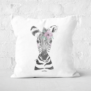 Pressed Flowers Floral Zebra Square Cushion