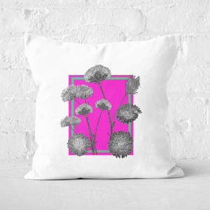 Pressed Flowers Hot Tones Framed Sketched Flowers Square Cushion