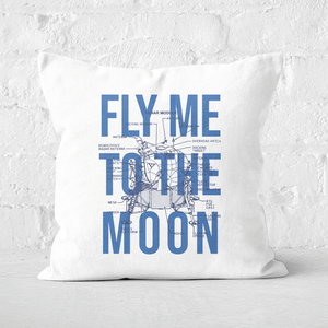Fly Me To The Moon Blue Print Square Cushion