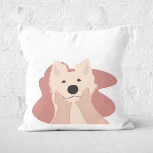 Pressed Flowers Doggy Smiles Square Cushion