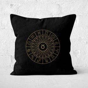 Pressed Flowers Decorative Horoscope Symbols Square Cushion