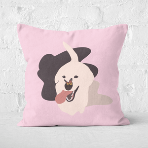 Pressed Flowers Dog With Butterfly Nose Square Cushion