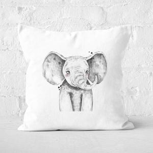 Pressed Flowers Cute Elephant Square Cushion