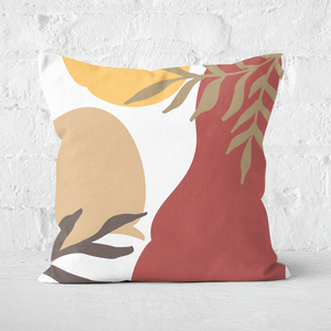 Pressed Flowers Hot Tone Abstract Leaves Square Cushion