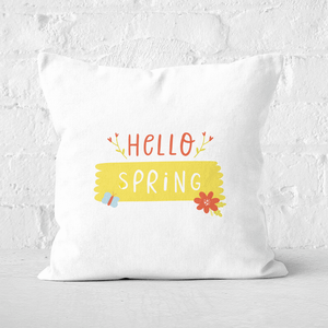 Pressed Flowers Hello Spring Square Cushion