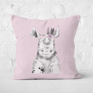 Pressed Flowers Indie Rhino Square Cushion