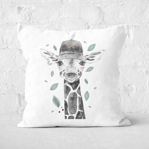 Pressed Flowers Rainbow Giraffe Square Cushion