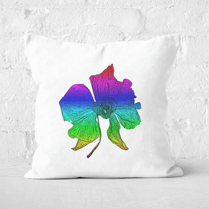 Pressed Flowers Ombre Rainbow Flower Square Cushion