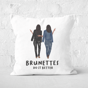 Pressed Flowers Brunettes Do It Better Square Cushion