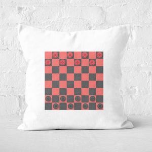Red Checkers Board Square Cushion