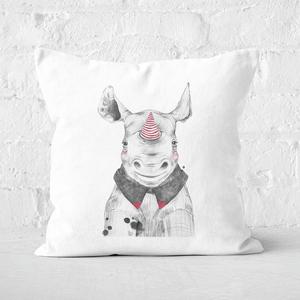 Pressed Flowers Clown Rhino Square Cushion