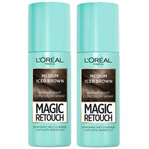 L'Oréal Paris Magic Retouch Medium Iced Brown Root Concealer Spray Duo Pack
