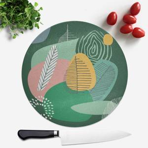 Abstract Leaves And Feathers Round Chopping Board