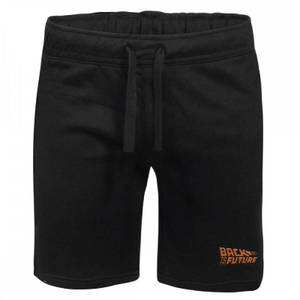 Back To The Future Logo Embroidered Unisex Jogger Shorts - Black
