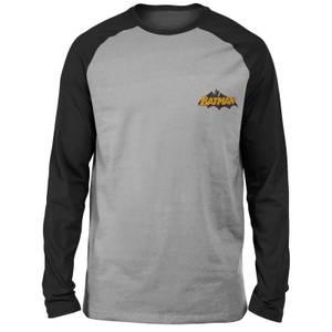T-shirt à manches longues Raglan DC Batman Logo - Brodé - Gris/Noir - Unisexe