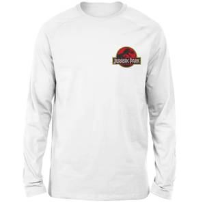 Jurassic Park Logo Embroidered Unisex Long Sleeved T-Shirt - White