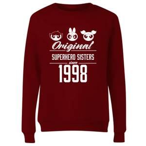 The Powerpuff Girls Original Superheros Sisters Women's Sweatshirt - Burgundy