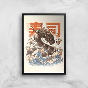 Ilustrata The Great Sushi Dragon Giclee Art Print