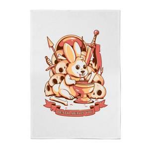 Ilustrata Bunny Graal Cotton Tea Towel - White