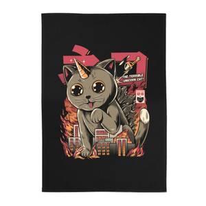 Ilustrata Catzilla Cotton Tea Towel - Black