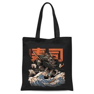 Ilustrata Black Sushi Dragon Tote Bag - Black