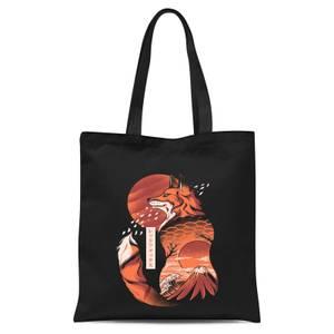 Ilustrata Japanese Fox Tote Bag - Black
