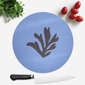 Black Leaf Round Chopping Board