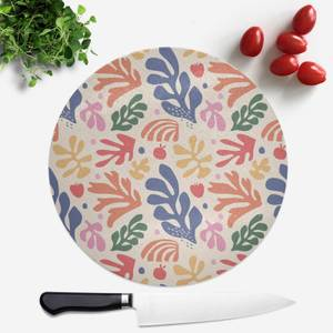Nude Rainbow Leaves Round Chopping Board