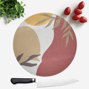 Hot Tone Abstract Leaves Round Chopping Board