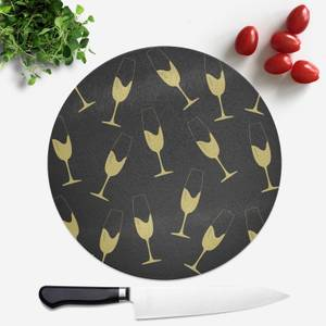 Champagne Glasses Round Chopping Board