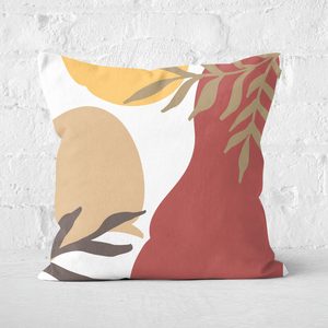 Hot Tone Abstract Leaves Square Cushion