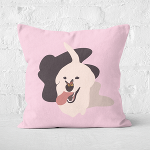 Dog With Butterfly Nose Square Cushion