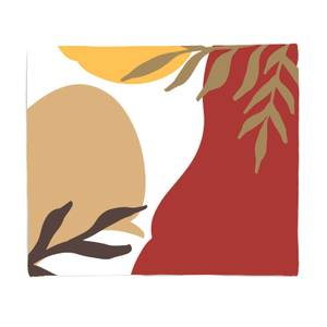 Hot Tone Abstract Leaves Fleece Blanket