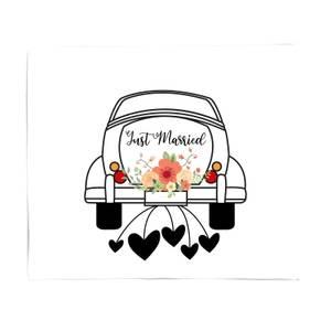 Just Married Car Fleece Blanket
