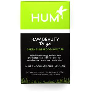 HUM Nutrition Raw Beauty to Go Green Superfood Powder Mint Chocolate Chip Infusion (15 Packets)