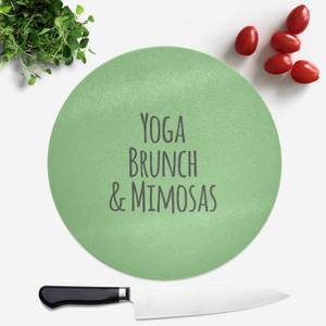 Yoga Brunch And Mimosas Round Chopping Board