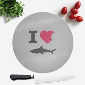 I Love Sharks Round Chopping Board