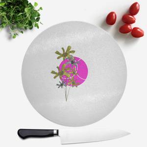 Pressed Flowers Hot Tone Flowers And Circles Round Chopping Board