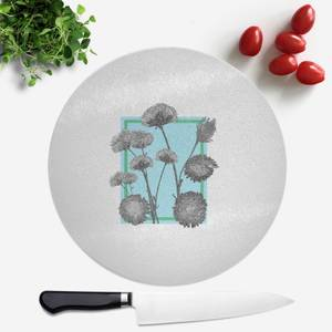 Pressed Flowers Cool Tones Framed Sketched Flowers Round Chopping Board
