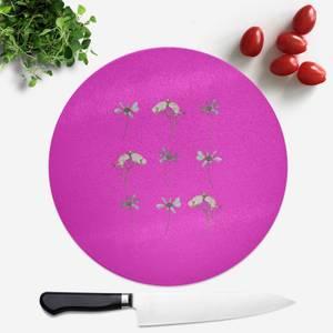 Pressed Flowers Hot Tones Trio Flower Print Round Chopping Board