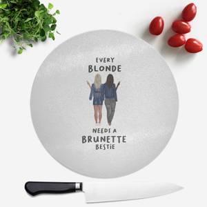 Pressed Flowers Every Blonde Needs A Brunette Bestie Round Chopping Board